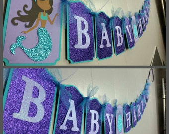 Gitter Mermaid Name Banner with Tulle!, Mermaid Name Banner, Mermaid Babyshower Banner