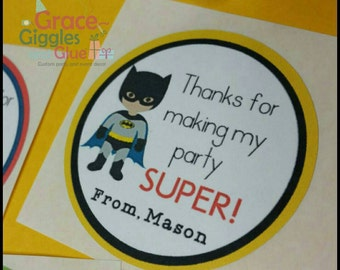 12 2inch Personalized Superhero  Themed Favor Stickers, Superhero Adhesive Party Tags