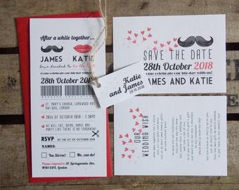 Rustic Vintage Wedding Invitations Moustache Set