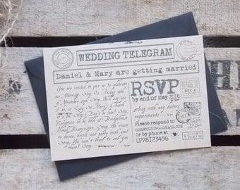Rustic Vintage Wedding Invitations Eco Craft Telegram Set