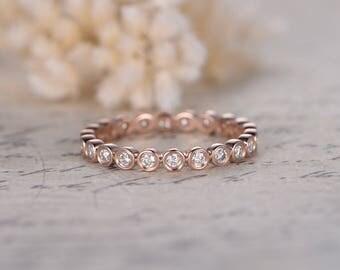 round cut charles colvard moissanite wedding band bezel engagement ring moissanite bezel wedding band 14k
