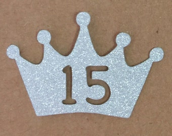 Crown Number Princess Glitter Die Cutout Handmade Scrapbooking Birthday Party Invitation Collection Decoration