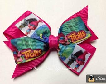 "4"" Trolls shocking pink hot pink hair bow clip troll birthday party favor baby toddler teen spring summer tall hair big hair"