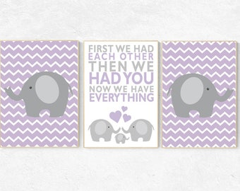 Purple nursery decor, Baby girl nursery, First We Had Each Other, girls room, Elephant Nursery, Nursery Art, Nursery Decor, Nursery Prints