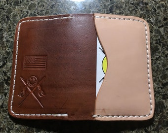 Leather three slot card holder