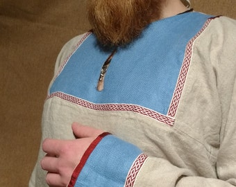Early medieval Viking linen shirt with tablet weaving and silk, Viking Costume, Reenactment