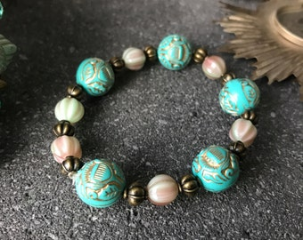 vintage Victorian bracelet with turquoise beads and pink melon beads