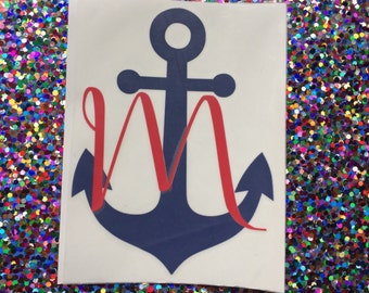 Anchor Initial Decal - Anchor Sticker - Vinyl Monogram Anchor Decal - Vinyl Decal - Cheap Monogram - Monogrammed Gift - Personalized Anchor