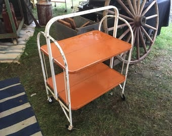 Vintage Folding Brilliant Orange Bar Cart