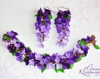 Amethyst gift jewelry Amethyst jewelry for wife Purple Jewelry Set Purple Bracelet Flower Bracelet Earring Spring Jewelry Flower Jewelry set