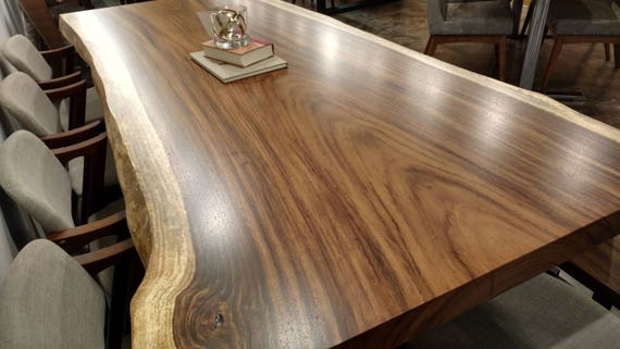 """3"""" Thick Guanacaste Live Edge Dining Table on Mission Style Trestle Base"""