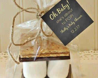 S'mores Favor Kits, 12  S'mores Party Favor Kits, Baby Shower, She's About To Pop, Custom Baby Shower Favor, Baby Shower Favors