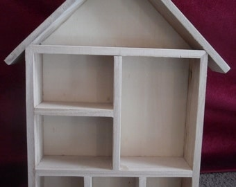 7 Compartments wooden Doll house House shaped Shelving Decorate Shadow box Art craft