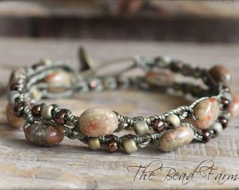 Beaded Crochet Jewelry, Gemstone Wrap Bracelet, Stacking Bracelet, Crochet Beaded Bracelet, Crocheted Jewelry, Gifts for her
