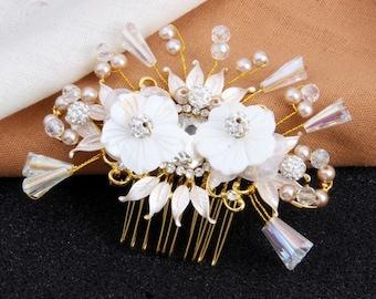 Flower Bridal Hair Comb, Crystal Wedding Hair Comb, Wedding Hair Accessories, Bridal Hair Piece, Flora wedding Headpiece