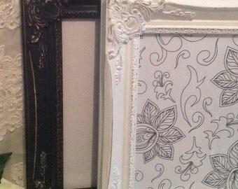"Ornate Picture Frame Custom Colors 8"" X 10"" Shabby Chic White Black Aqua Wedding or Custom Color"
