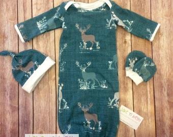Deer baby gown, knot hat, and no scratch mittens, newborn set - deer on green