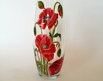 Anniversary Gift for Wife Hand Painted Vase Living Room Art Colorful Glass Home Decor Birthday Gift Idea Red Poppies Decor Decorative Vase