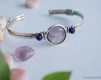 Amethyst ethnic bracelet - silver plate - Royal purple - adjustable