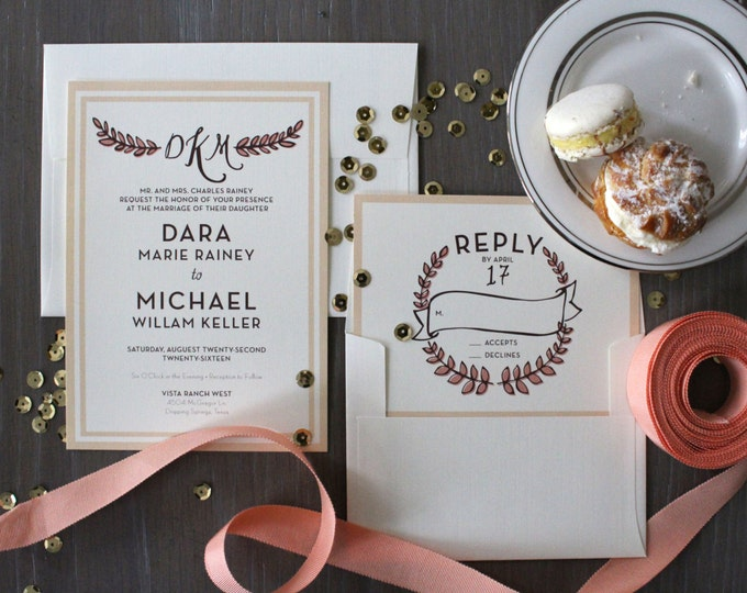 PRINTABLE Wedding Invitation Suite | Laurel Wreath in Peach & Plum