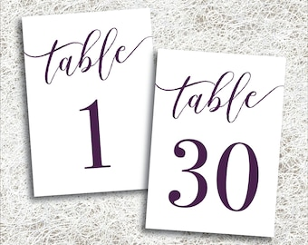 Printable Plum Wedding Table Numbers 1 - 30 | Instant Download | Printable Plum Table Number | Events Banquet | Purple Reception (FROST Set)