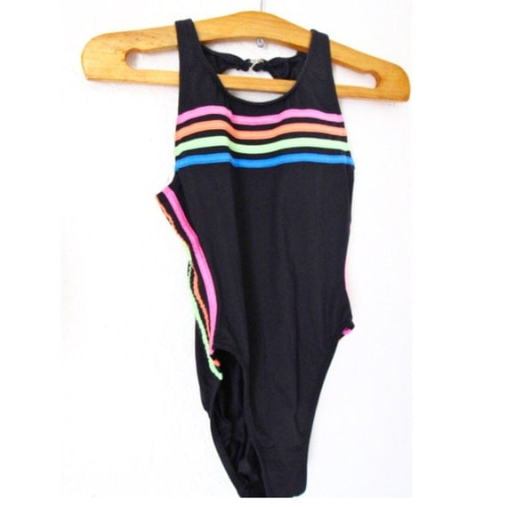 80s Rainbow Bright&Striped Swimsuit