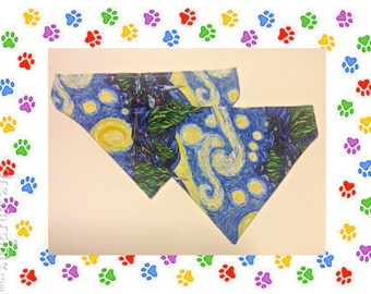 Dog Bandana, Starry Night,Van Gogh Dog Bandana,Over the Collar,Dog Scarf,Artistic Dog Scarf, Dog Accessory,Gift for Dog, Gift for Pet