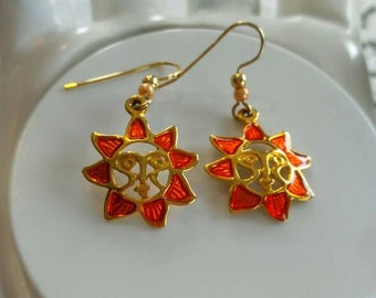 RETRO Orange Sun Pierced Earrings-Vintage-Enameled--All Orders Only .99c Shipping!