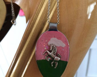 Pink unicorn resin spoon pendant necklace