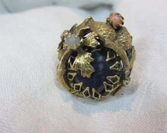 Vintage Ornate Art Nouveau Brass Statement Ring