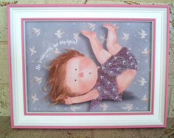 Kids Wall hanging. Children. Baby room wall hanging. Gapchinska. Little girl. Beaded embroidery.
