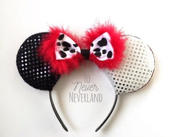 Cruella Ears, Cruella De Vil Disney Inspired Ears, 101 Dalmations Ears, Disney Villain Ears Headband, Villain Ears, Disneyland  PRE ORDER