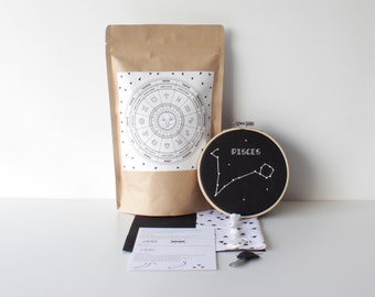 Pisces Embroidery Set With Easy to Follow How To & Material Design Cross Stitch Birthday Craft Zodiac Kit Hand Stitched Gift Star Sign