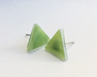 Geometric Stud Earrings - Small Dainty Earrings - Triangle Stud Earring - Minimalist Earrings - Small Minimal Studs - Simple Green Earrings