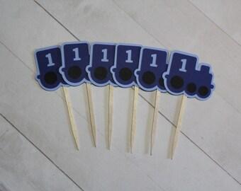 CLEARANCE SALE - 12 Train Cupcake Toppers | Choo Choo Train Birthday Party