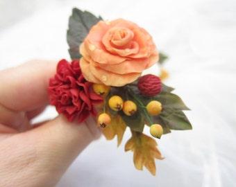 Orange rose pin, bridal hair flower, wedding hair flowers, bridal hair pin, hair clay flower, yellow berries, clay chrysanthemum, red flower