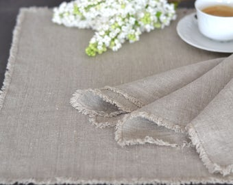 Set of two rustic linen placemats / Stonewashed linen / Placemat with fringe / Flax linen / Natural thick linen / Table décor