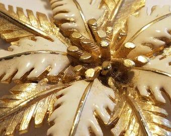 Large Vintage Goldtone Ivory Enamel Brooch Pin