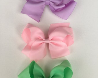"""Spring collection 6"""" inch grosgrain ribbon boutique hair bows, spring hair bows, pastel colors"""