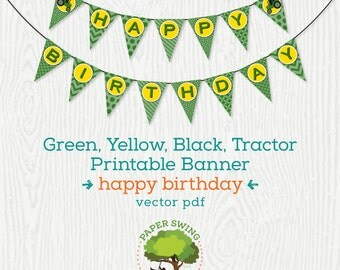 Printable Green, Yellow & Black Tractor Happy Birthday Banner