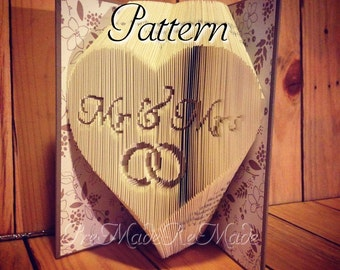 Mr & Mrs in Heart with Rings - Folded Book Art Pattern - Combination Fold - Instant Download!