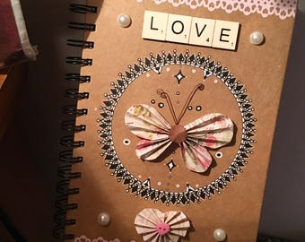 Handmade A5 butterfly love notebook with lined paper