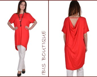 Oversize Woman Tunic/Red  Plus Size Woman Top/ Party Woman Tunic/ Modern Informal Top/ Coral Woman Top/ Maxi Tunic