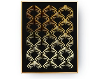 Abstract Print Poster, Art Deco Pattern, Real Gold Foil, Gold Print, Geometric Print Poster, Minimalist Poster, Black Background Poster, 5x7