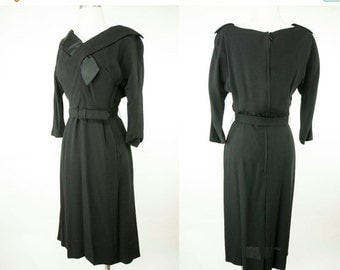 EVERYTHING ON SALE Nelson-Caine ~ 50s/60s ~ Black Secretary Dress