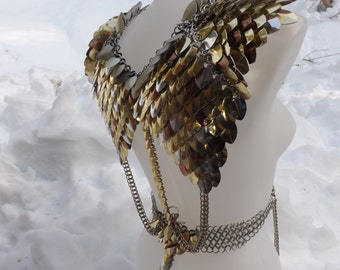 Seraphim Scalemaille Harness - Made to Order Scale and Chainmail - Pauldrons, Spaulders, Epaulettes, Fetish, LARP, Fantasy, Dance