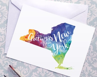 New York Watercolor Map Greeting Card, Greetings from New York Hand Lettered Text, Gift, Postcard, Giclée Print, Map Art, Choice of 5 Colors