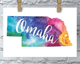 Custom Nebraska Map Art, Nebraska Watercolor Heart Map Home Decor, Omaha or Your City Hand Lettering, Personalized Giclee Print, 5 Colors