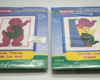 "Janlynn Counted  Cross Stitch Kit 16-74 16-70 Barney Hello Friends Barney Curtain Call  5 "" x 7 "" With Frames Nursery Baby Gift Shower"