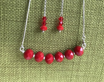 "Sterling Silver Red Chain Necklace 18"" and Earrings"